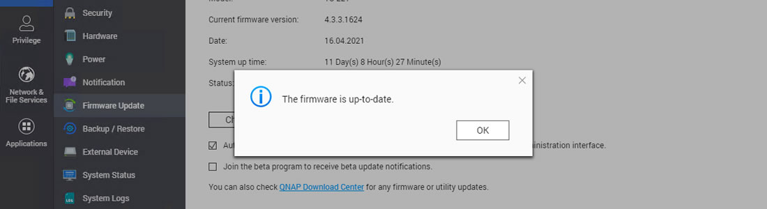 QNAP firmware is up-to-date